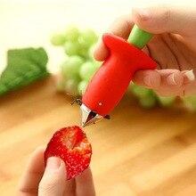 Cocina creativa Linda fruta eliminar tallos fresa tubular herramienta dig corer lindo color al azar