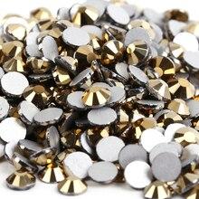 Гематита золота Aurum 3D Нейл-арт ss3 ss4 ss5 ss6 ss8 ss10 ss12 ss16 ss20 ss30 ss34 Стекло/с украшением в виде кристаллов для ногтей, не для горячей фиксации Стразы
