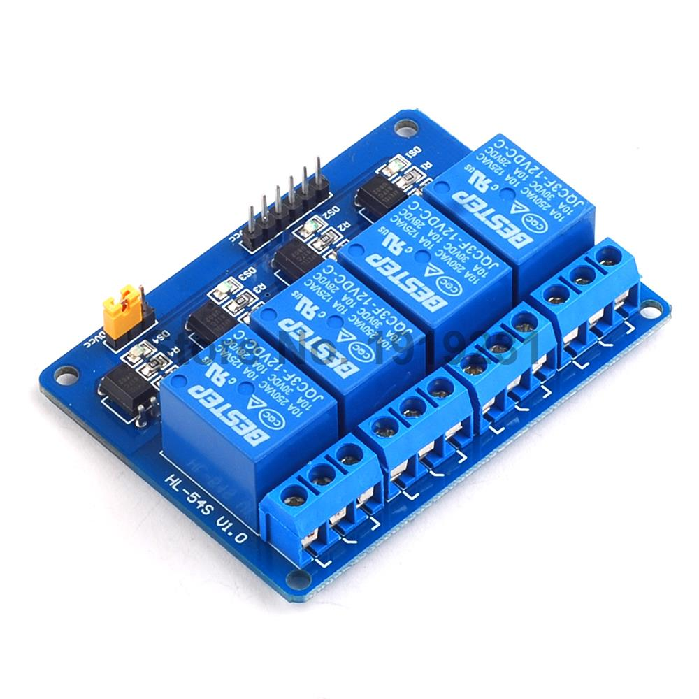 1PCS 4 Channel 12V Relay Module Relay Control 4Channel Relay Output 4 Way Relay Module for Arduino 4 channel 12v relay module expansion board for arduino works with official arduino boards