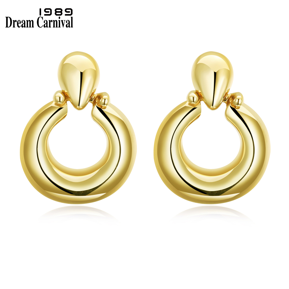 DreamCarnival 1989 Light Gold Color Stud Earrings for Women Round Shape Office Jewelry Super Deal Sales Brincos Boucle doreille