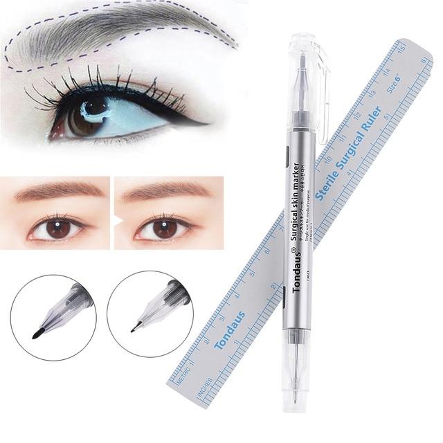1 set Microblading Tattoo Eyebrow Skin Marker Pen With Measure Measuring Ruler Tattoo Eyebrow Marker Pen 2