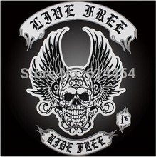 Embroidery twill Patches for Jacket Back Motorcycle Biker Black Skull with Wings Big Size HUGE