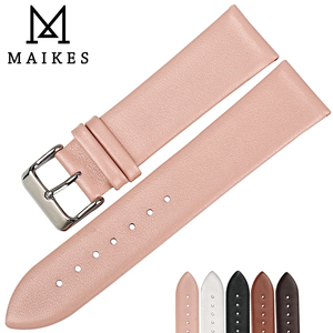 MAIKES Fashion Pink Watch band Women Watch Accessories Real Cow Leather Watch Strap Bracelet Watchbands For DW CK SEIKO CITIZEN(China)