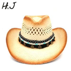 46bc2f1dd58 HXG JQX Women Men Western Cowboy Hat Straw Cap Cowgirl