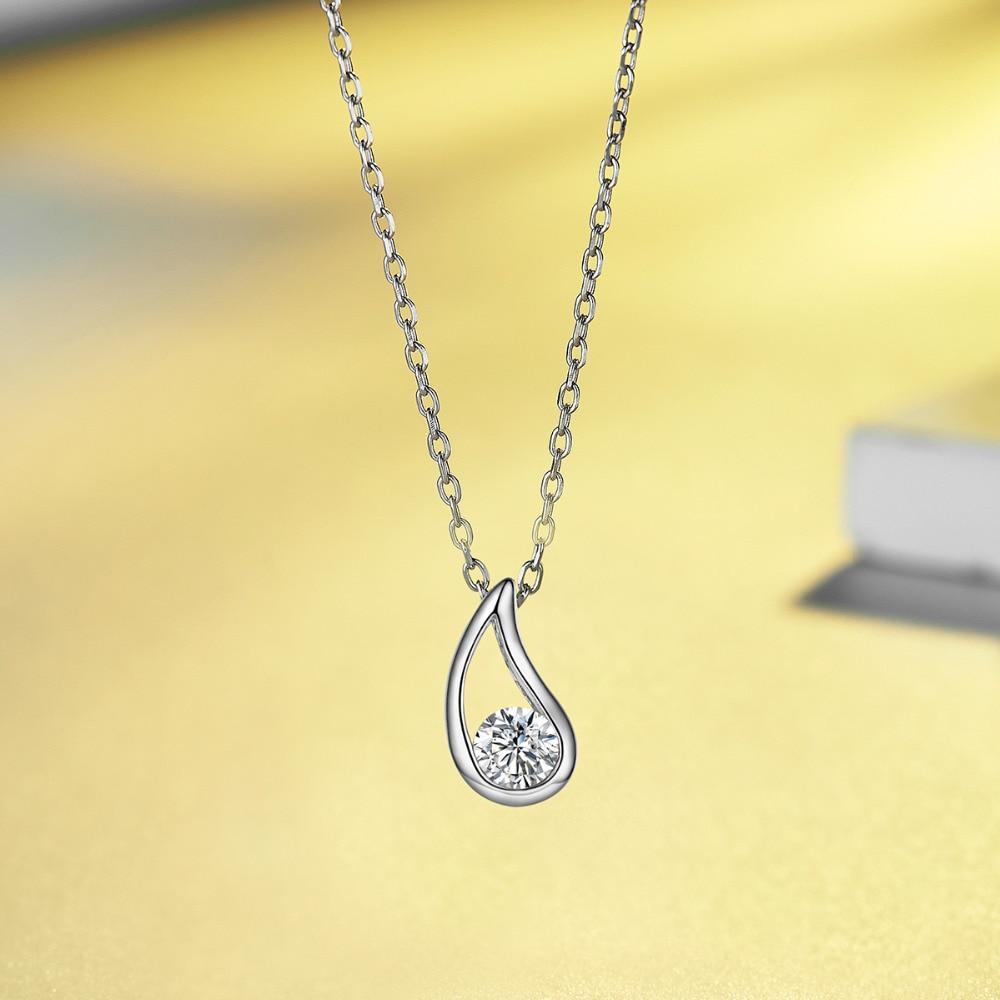Energisch Elegante Wasser Tropfen Anhänger Halskette Kristall 925 Sterling Silber Kette Für Liebhaber Frauen Geschenk Großzügige Schmuck Ausgezeichnet Im Kisseneffekt