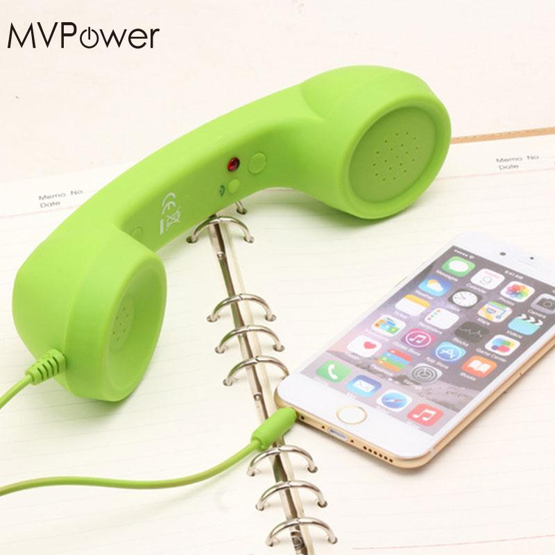 MVPower Retro Wired Anti-radiation Headset 3.5mm Mic Cell Phone Handset Fancy Gifts for Mobile Phones Receiver Tablet PC