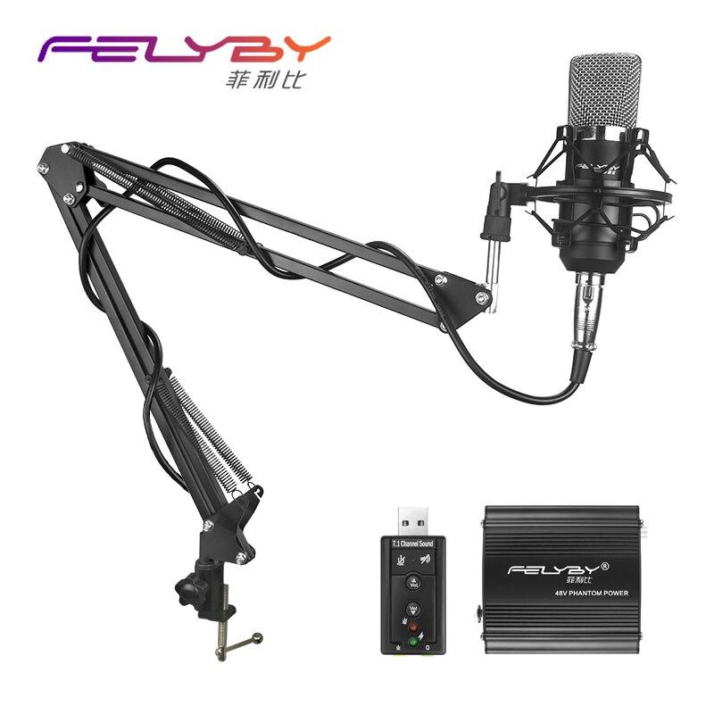 FELYBY BM700 Haute Qualité Professionnel 3.5mm Filaire Microphone enregistrement Mic pour ordinateur KTV Karaoké Métal Shock Mount