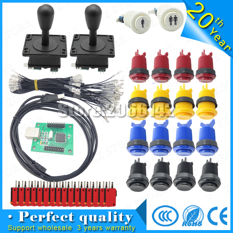 Arcade parts Bundles kit With American Joystick microswitch button 2 players USB to jamma/PC board to DIY Arcade Machine