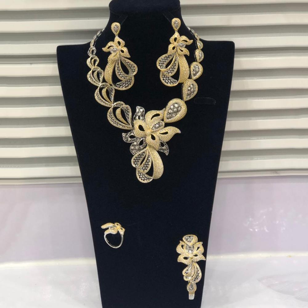 GODKI Luxury Trendy Flowers Nigerian Jewelry sets For Women Wedding Cubic Zircon CZ Dubai Gold Bridal Jewelry Set 2019