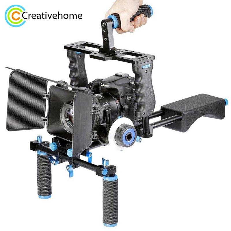 YELANGU profesional DSLR Rig hombro estabilizador cámara de vídeo soporte jaula/caja mate/seguir el enfoque para cámara Canon Nikon Sony