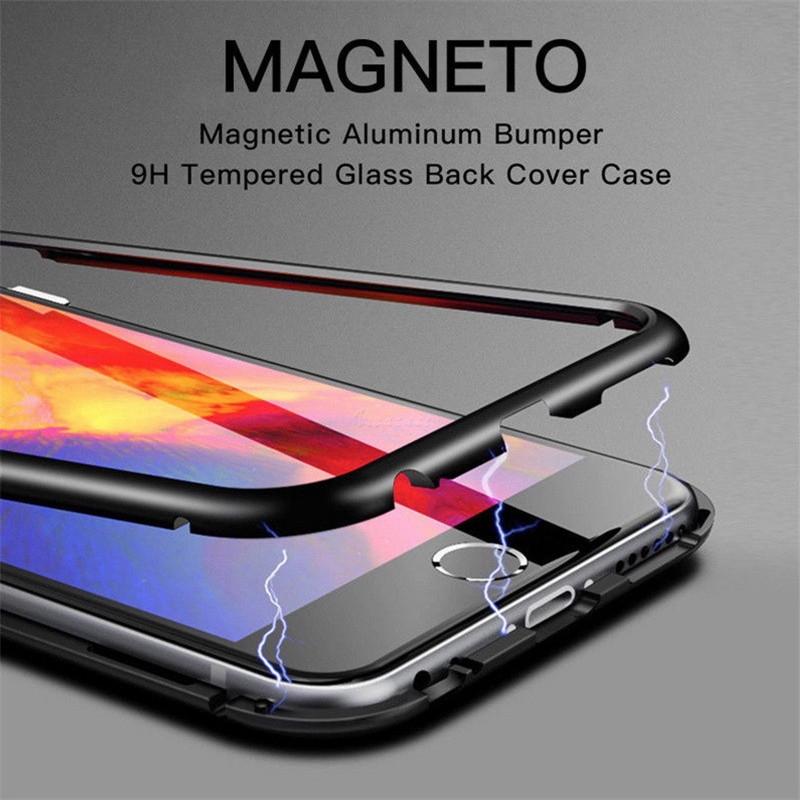 YISHANGOU Magnetic Adsorption Phone Case For iPhone X 10 6 6S 8 7 Plus For Samsung S8 S9 Plus Tempered Glass+Metal Bumpers Cover
