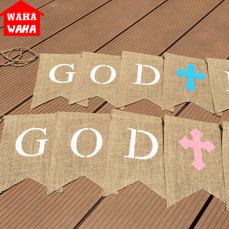 1 Set 9 Tail Flags GOD BLESS The Swallowtail Flag Banners Bunting Flags for Baby Shower Birthday Christening Baptism Party Decor