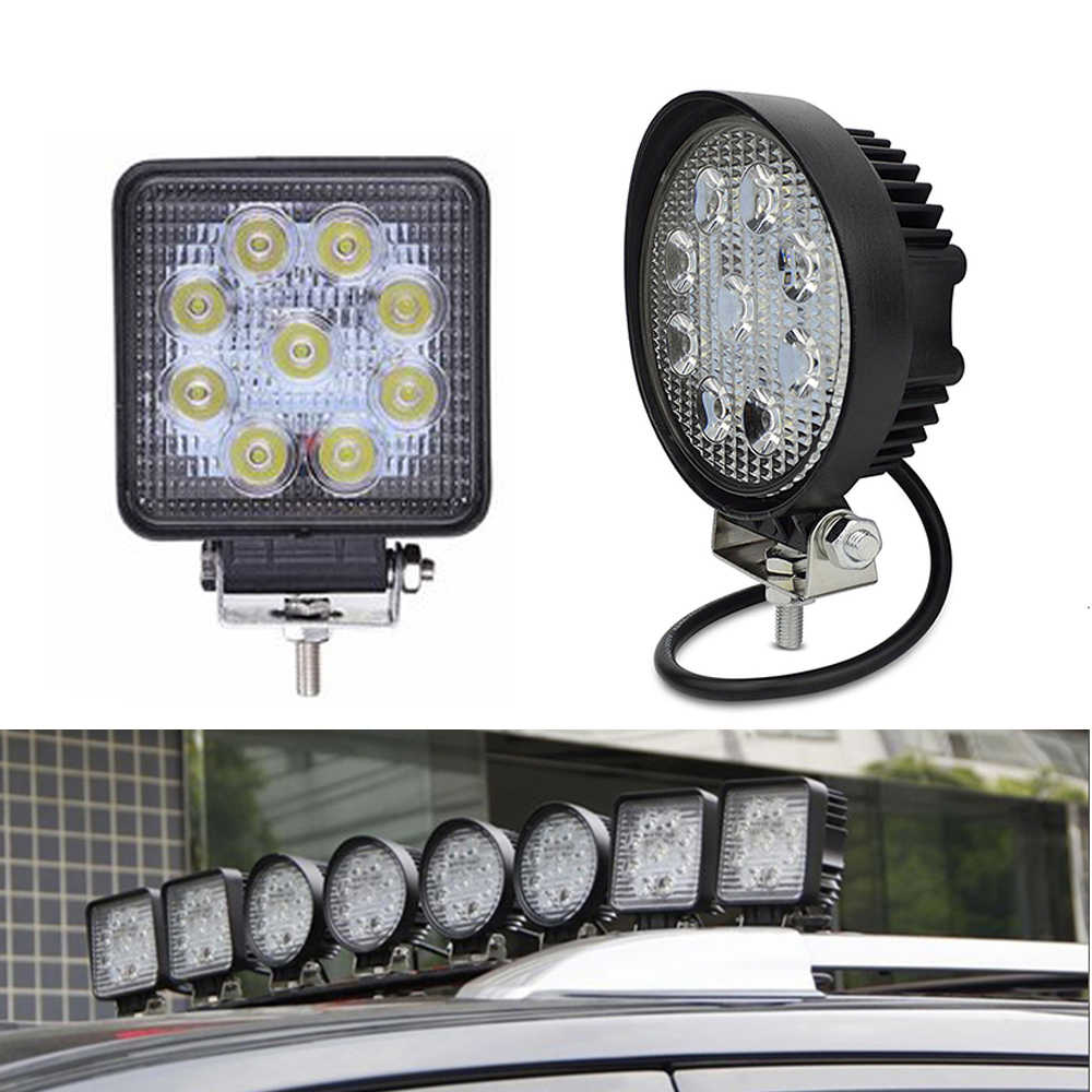 """2 قطعة ECAHAYAKU 4 """"مربع 27W LED ضوء العمل بقعة/كشاف ضوء IP67 للماء للصدمات ل Offroads المركبات اتفس سيارة LED مصباح"""