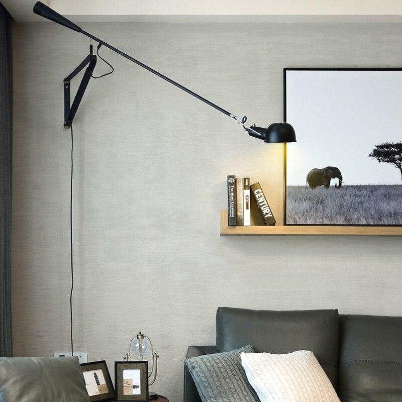 Modern led braço oscilante Art Decor Parede LEVOU Montado Luz Branco Preto Ajustável Braço Longo Lâmpada De Parede de Cabeceira