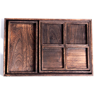 45x30cm 7pc/Set Home Tea Trays Food Dried Fruit Plant Plate Chinese KungFu Tea Tray Home Storage Tray Dark Brown