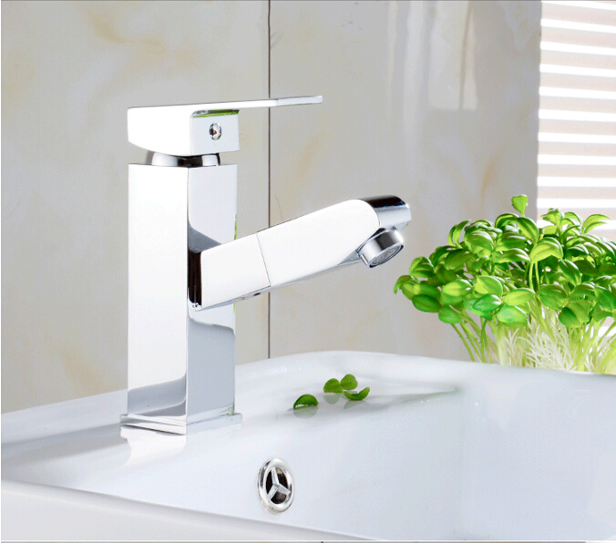fashion high quality square cold and hot bathroom sink faucet basin faucet  tap mixer with pull out shower head