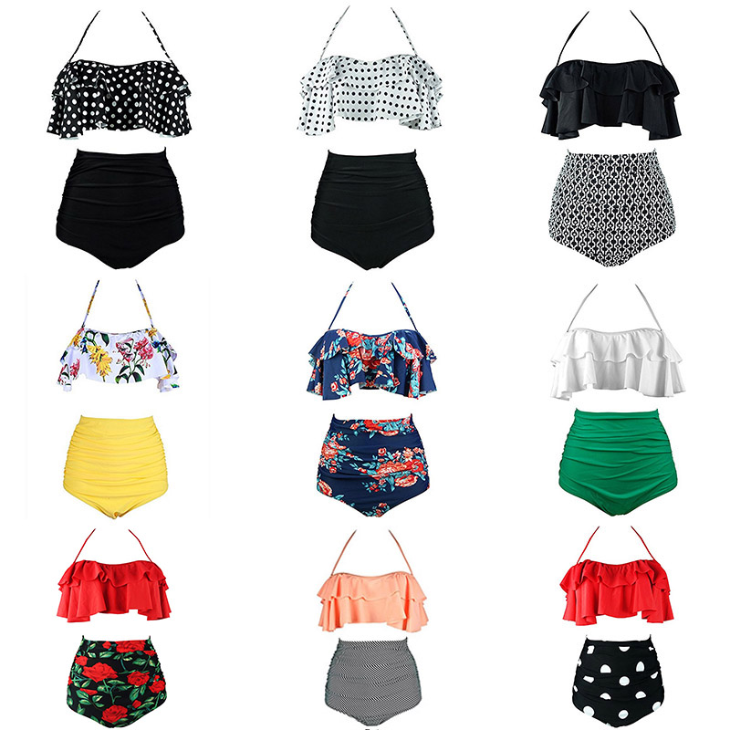 d991a4ff99 2019 New Bikinis Women Swimsuit High Waist Bathing Suit Plus Size Swimwear  Push Up Bikini Set Vintage Beach Wear Biquini