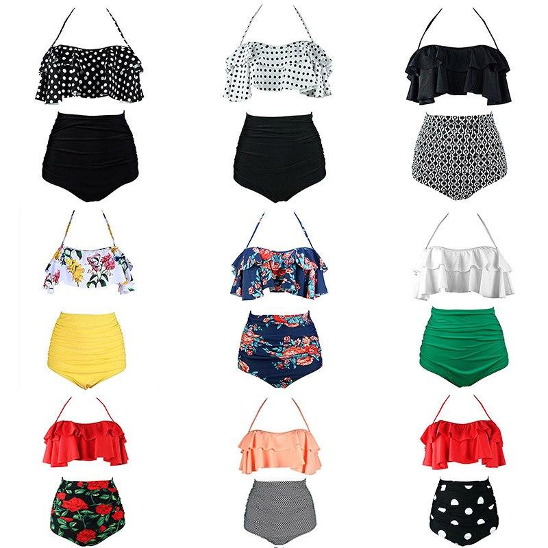 2019 neue Bikinis Frauen Badeanzug Hohe Taille Badeanzug Plus Size Bademode Push Up Bikini Set Vintage Strand Tragen Biquini