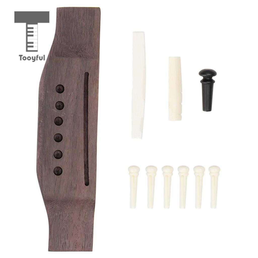 Tooyful 6 String Guitar Bridge Pins Endpin & Bone Saddle Nut Slotted & Rosewood Bridge Replacement Parts 1 kit classical guitar bone nut saddle rosewood bridge 12pcs bridge pins guitarra for guitar accessories and part kits