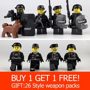 Military Special Forces Soldiers Bricks Figures Guns Weapons Legoings Armed SWAT Building Blocks Ww2 Toys For Children guerre moderne lego
