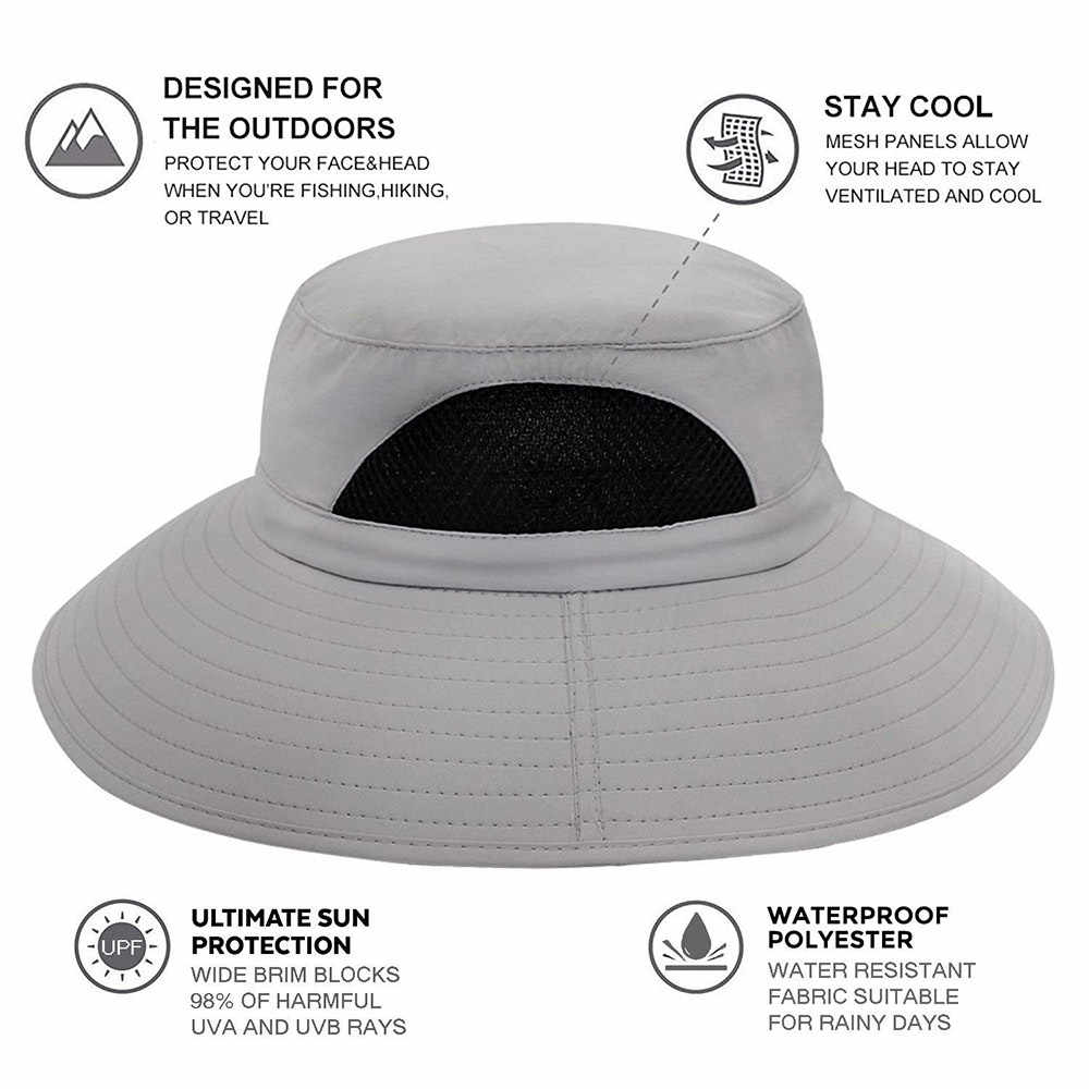 b0df57204e1 ... High quality UPF 50+ Summer Wide Brim Bucket Hat Waterproof Breathable  Packable black Men Boonie ...