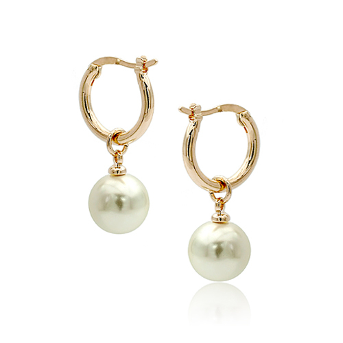 New Simple Round Ball Shaped Italina Hoop Earrings Simulated Pearl