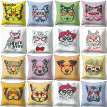 Hongbo Nordic Cartoon Cat Dog Cushion Cover Polyester Pillow Cover Sofa Nordic Decorative Pillow Case цены