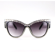 Rhinestone Cat Eye Retro Large Oversized Women Sunglasses Thick Frame Gradient SunGlasses Female Luxury Designer UV400