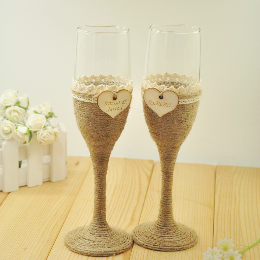 1 Set Personalized Wedding Gles Champagne Toasting Flutes Customized Names Date Burlap Lace Rustic In Wine From Home Garden