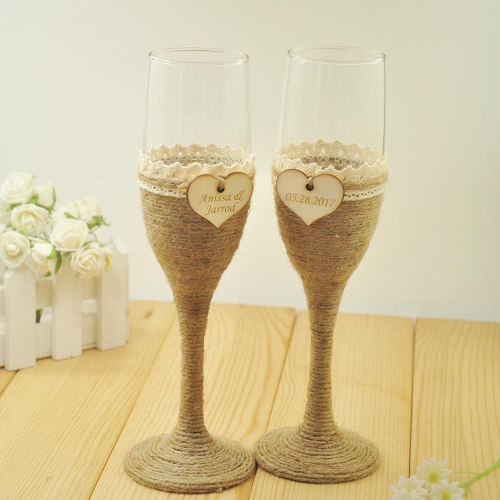 Printed Wedding Wine Glasses : Set Personalized Wedding Glasses, Wedding Champagne Toasting Flutes ...