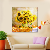 Top Hand Embroidered Sunflower Vase Round Diamond Inlay Rhinestone Cross Stitch Suite Home Gifts DIY 5D