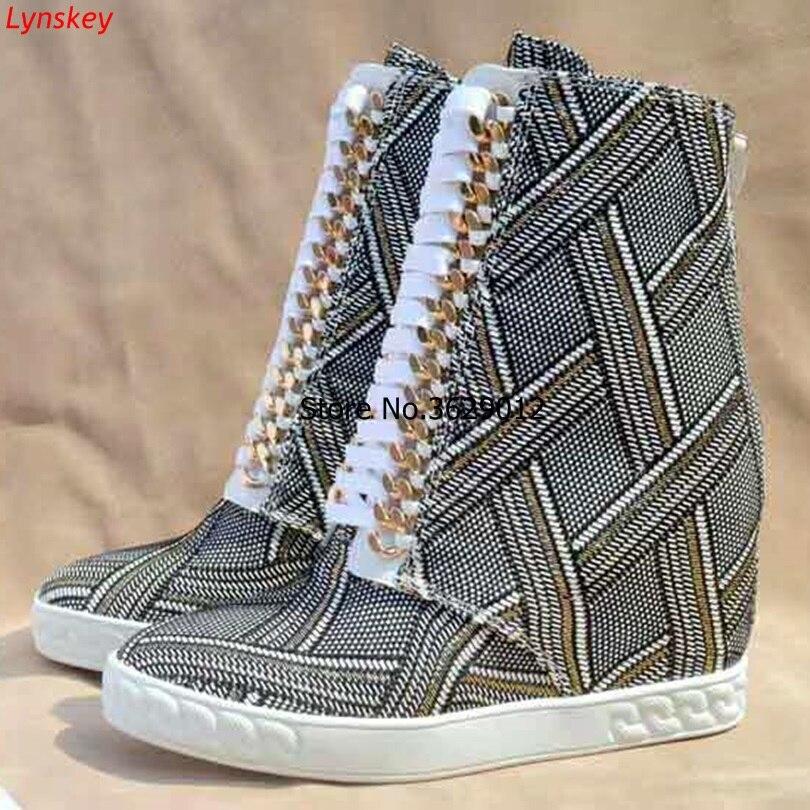 Nouveau printemps femmes bottes chaîne en or Wedges plate-forme bottes chaussures à talons cachés bottines à lacets pour femme