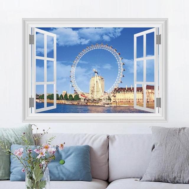 D Ferris Wheel UK London Wall Stickers Window Living Room Bedroom - Window stickers for home uk