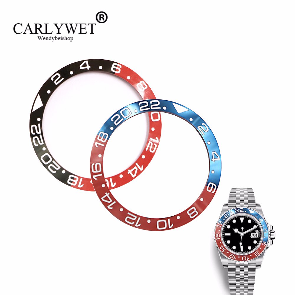 CARLYWET TOP Wholesale Repair Tools GRADE Black/Blue Red Replacement Ceramic Bezel Insert For Watch GMT-Master II 116710B Batman