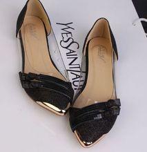 Sur les ventes grand escompte femme appartements chaussures printemps été DS169 bout pointu ceinture en métal or argent noir marque de mode femme appartements