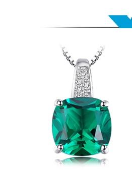 HTB1.eoLiRDH8KJjSszcq6zDTFXa2 Jpalace 3ct Simulated Nano Emerald Pendant Necklace 925 Sterling Silver Gemstones Choker Statement Necklace Women Without Chain