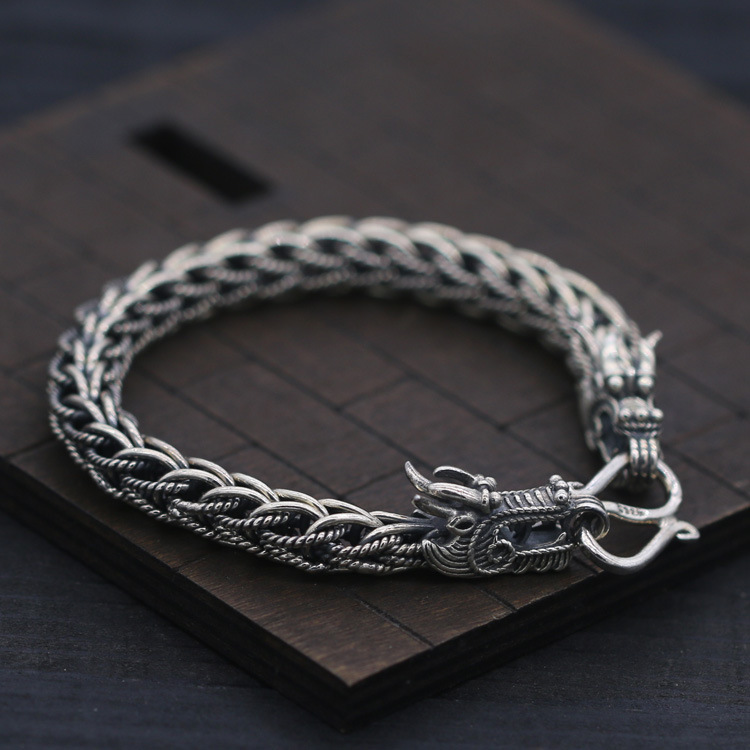 S925 sterling silver hand-woven hemp flower double leading Thai silver bracelet 8mm personality men domineering Chinese style