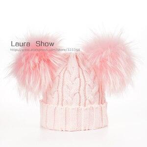 Image 5 - Laurashow ベビー冬の本物のミンクの毛皮のボールビーニーニット帽子子供暖かいアライグマの毛皮のポンポン skullies ビーニーウールキャップ