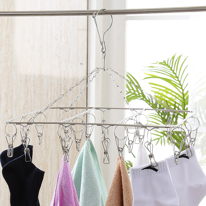 High Quality Outside Portable Laundry Stainless Steel Hanging Drying Wash Airing Rack With 20 Clip For Clothes Online In Products From Home Garden