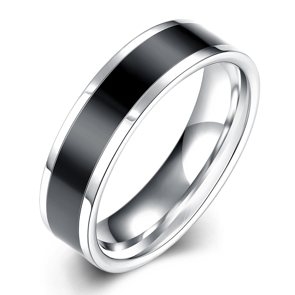 Black Striped Titanium Rings For Men Silver 316l Stainless Steel Wedding  Engagement Bands Ring Man For