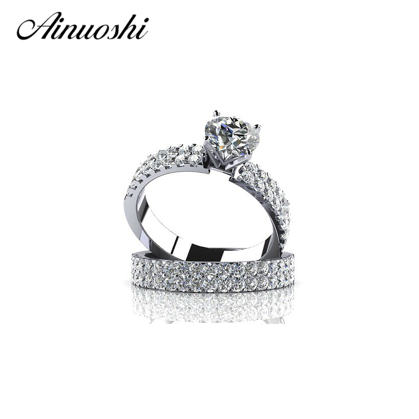 AINOUSHI 1 Carat SONA Paved Engagement Rings Sets Solid 925 Sterling Silver Wedding Jewelry For Women Engagement GiftAINOUSHI 1 Carat SONA Paved Engagement Rings Sets Solid 925 Sterling Silver Wedding Jewelry For Women Engagement Gift