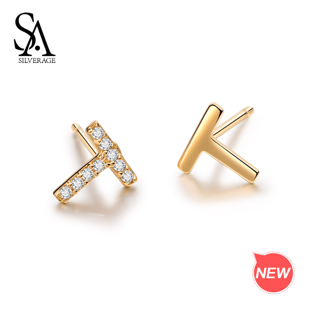 SA SILVERAGE 9K Yellow Gold Stud Earrings for Women AAA Zirconia K-Gold Earrings T Word Earrings Set Gemstone Earrings pair of stylish rhinestone triangle stud earrings for women