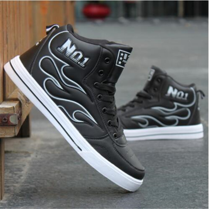 NEW Spring Autumn New Men 39 s lace up Shoes Fashion PU Leather Mens hip hop Shoes Casual Black White High Top Shoes zapatos Hombre in Men 39 s Casual Shoes from Shoes