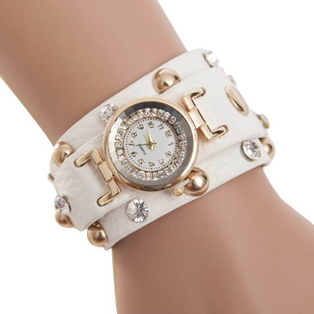 2016 Popular Ladies Rivet Punk Chain Belt Bracelet Watch Hot Retro Crystal Rhine