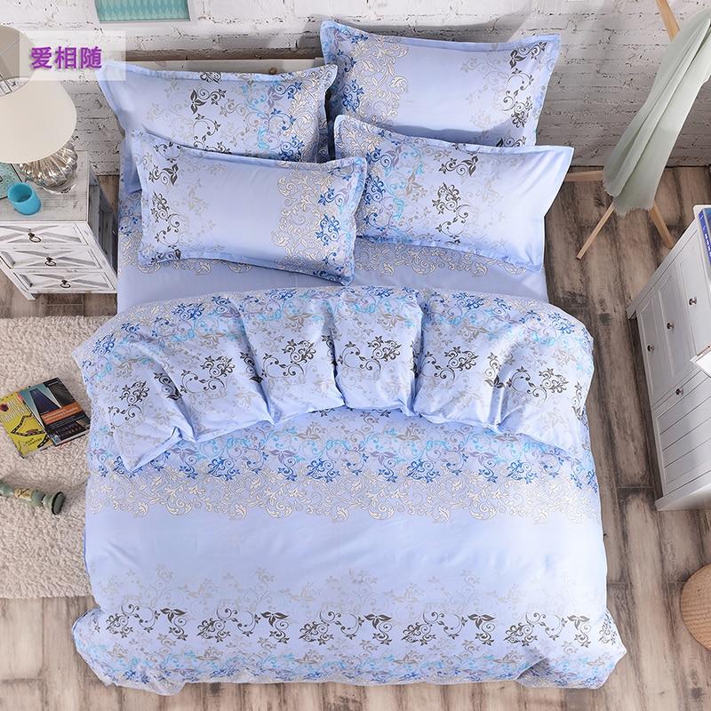wholesale 4PC bedclothes Blue jacquard pillowcases duvet cover set bed quilt bedlinen Queen King size