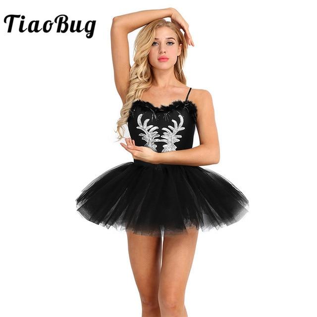 TiaoBug נשים בלט טוטו בגד גוף שמלה לבן שחור ברבור תחפושת בלט בגדי גוף למבוגרים שרוולים נצנצים שלב ריקוד תלבושות