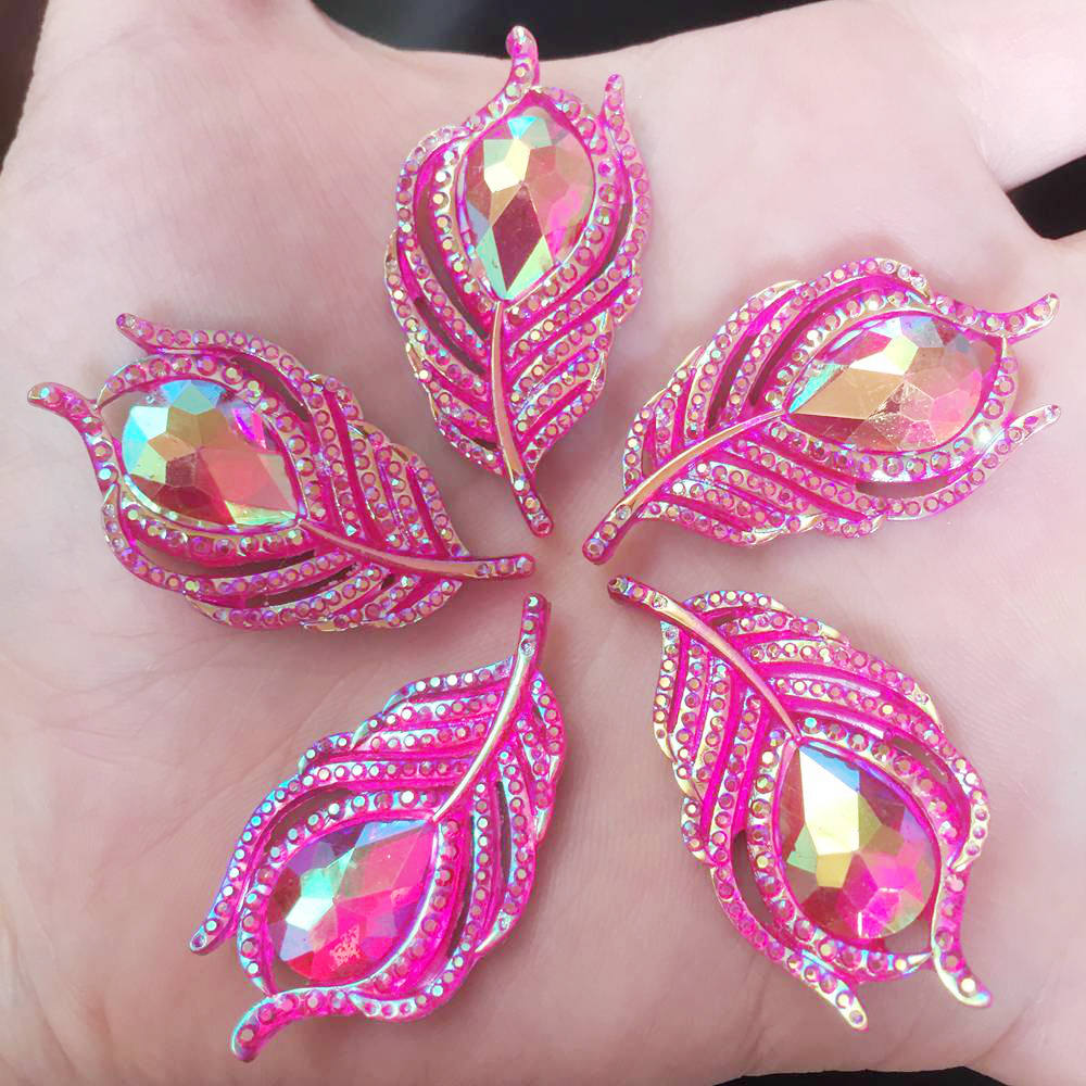 Image 5 - 10PCS  AB Resin 3D Peacock Feathers Flat back rhinestone scrapbook DIY Wedding buttons for clothing appliques  SW19*2-in Rhinestones from Home & Garden