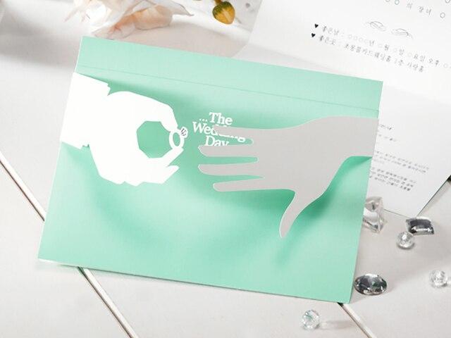 Design Holding hands Elegant Tiffany light Green Laser Cut Wedding Invitations Set Printable Lace Invitations Cards