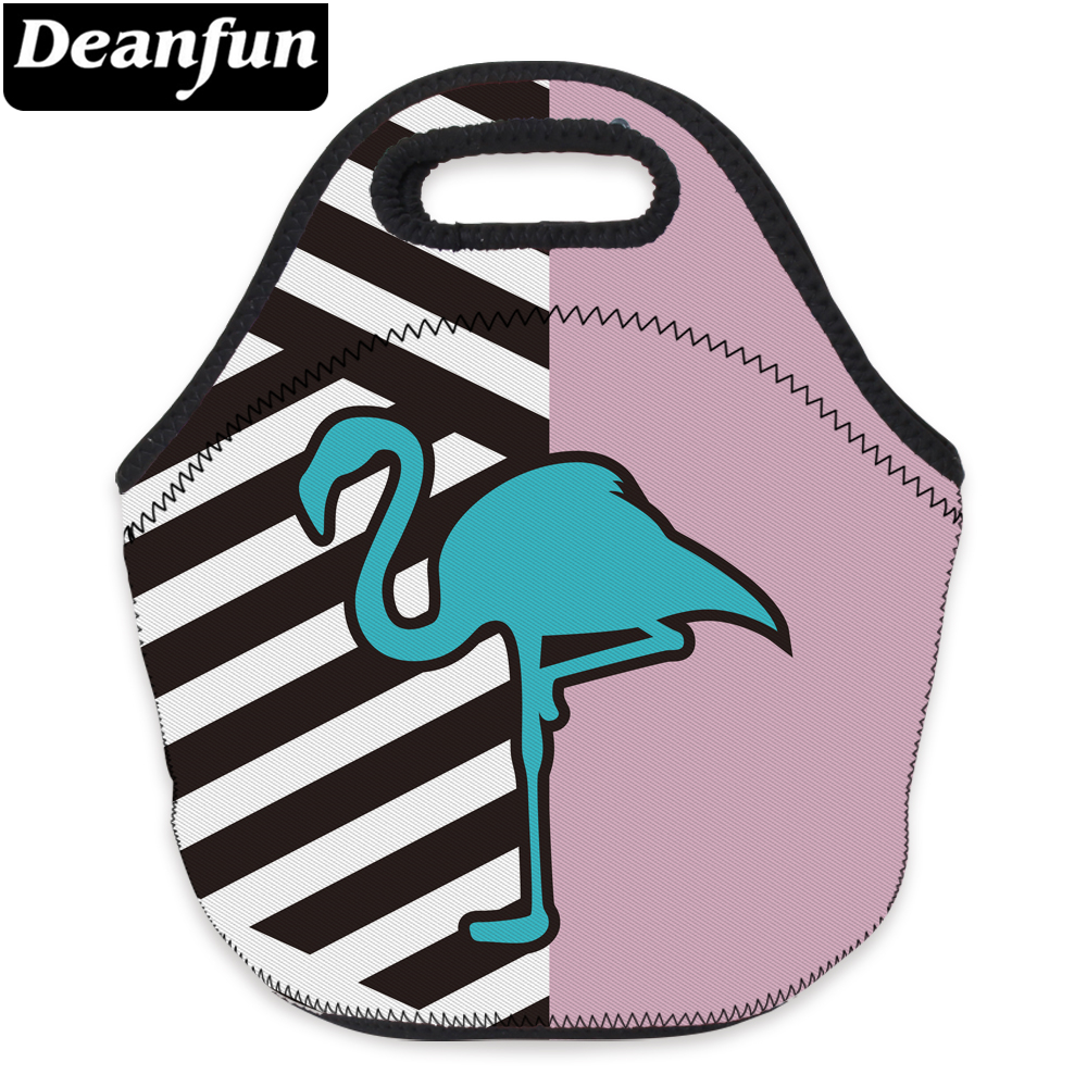 Deanfun 3D Printed Lunch Bag Flamingo and Striped Neoprene with Zipper for Kid School 73088