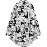 Femmes Chemisier 2017 Lourdaud Paresseux Style Motif D'impression Plus La Taille chemise pour Femme Mode Mignon En Mousseline de Soie Casual Manches Longues Surdimensionné Top